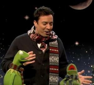 Robin and Kermit on Late Night with Jimmy Fallon