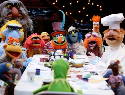 THE GREAT GONZO, RIZZO, SCOOTER, SAM THE EAGLE, SWEETUMS, ANIMAL, KERMIT THE FROG, JANICE, DR. TEETH, ZOOT, FLOYD PEPPER, BEAKER, SWEDISH CHEF, YOLANDA (FOREGROUND)