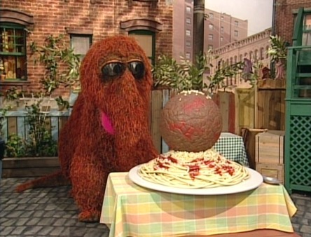 Snuffy on top of spaghetti